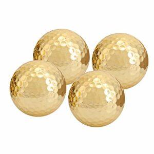 Semiter 【Cadeau de fête des mères】 Balle de Golf Portable de Haute qualité, Balle de Golf plaquée Or, plaqué Or 4 pièces pour Les Clubs de Golf Amateurs de Golf pratiquant Le Golf débutants