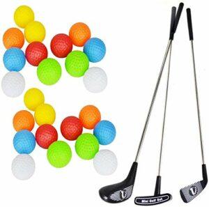 SOWOFA Golf Pro. Ensemble de Jeu Jouet Golfeur 3 Cannes de Golf et 20 balles colorées pour Les Enfants de 1 à 6 Ans (Un Ensemble)