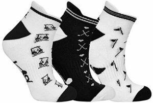Surprizeshop Lot de 3 paires de chaussettes de golf noires et blanches, Femme, Noir , UK 4-7