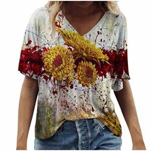 T Shirt à Manches Courtes Femme Col V Fleuri Imprimée Blouse Femme Chic Et élégant Manche Courte Ample Haut Femme Sexy Decolleté été Chemisier Femme Grande Taille Tunique Tops All-Match Tee Shirt