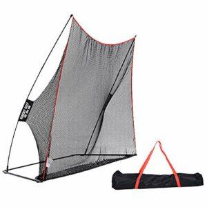 TAKE FANS Filet de golf portable de 3 x 2,1 m avec tapis pour entraînement de golf intérieur et extérieur pour véritable balle de golf
