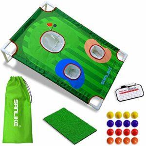 Tapis de golf pour cour – Jeu de cornhole avec entraînement – Filet de chipping – 16 balles d'entraînement en mousse et sac de rangement – Portable – Pliable – Pour l'intérieur et l'extérieur