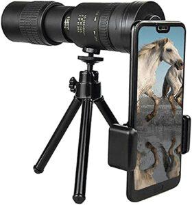 Télescope Monoculaire De Zoom 4K 10 300x40mm, Télescope Étanche avec Adaptateur De Smartphone Trépied Et Vision Nocturne pour L'observation des Oiseaux/Chasse/Camping