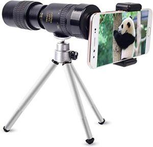 Tophacker Super Téléobjectif 4K 10-300x40mm Zoom Monoculaire Monoculaire, avec Clip De Trépied Portable Et Téléphone Portable