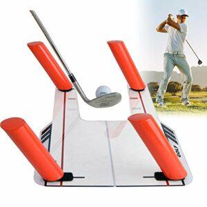 TOPQSC Aide à la Formation de Swing de Golf avec Base Acrylique + 6 tiges de Chemin + Sac de Transport, entraînement de Vitesse de correcteur de Tranche pour Aide à la Formation de Golf