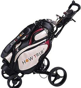 TUHFG Chariot de Golf Pliant One-Click Chariots de Golf Pliant 4 Roues Golf poussant Le Chariot d'une Seconde à Ouvrir et à Fermer | Chariot de Golf léger avec Chariots de Golf de Stand de Parapluie