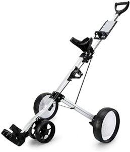 TUHFG Chariot de Golf Pliant One-Click Golf Push Push Chariots 4 Roues Pliants, Panier de Golf à la Main, Panier de Golf, Facile à Ouvrir et à proximité (Color : White)