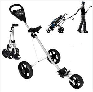 TUHFG Chariot de Golf Pliant One-Click Panier de Golf, Chariot de Chariot de Golf 3 Roues poussant Tirer en Alliage d'aluminium Pliable avec Frein pour Le Sport de Voyage extérieur Peut Porter 80kg