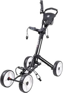 TUHFG Chariot de Golf Pliant One-Click Panier de Poussoir de Golf avec 4 Roues, Chariot de Golf à la Main léger avec Support de Parapluie Facile à Ouvrir et à Fermer (Color : Black)