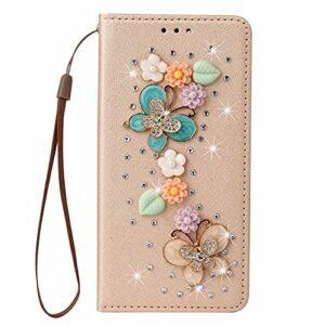 TYWZ Coquille Bling Portefeuille pour iPhone XS Max,Etui en PU Cuir Coque 3D Brillant à la Main Glitter Etui Housse Fermoir Fente pour Carte-Papillon Fleur Or