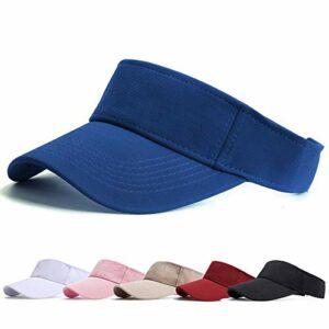 Visiere Casquette Femme – Casquette Golf, Visières Casquette de Soleil Réglable Homme Sport Hat pour Golf Cyclisme Pêche Tennis Running Vetement Golf (Bleu)