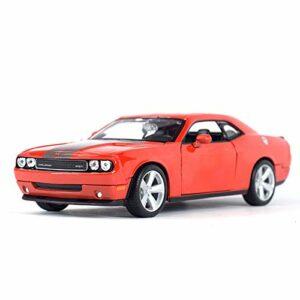 Voiture de marque modèle 1:24 pour 2008 Dodge Challenger Srt8 Voiture de sport statique moulée sous pression Véhicules de collection (Couleur : Bleu)