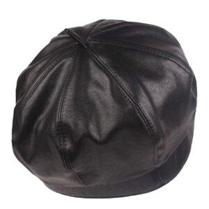 WMA Femmes Octagonal Gavroche Cap Peaked Golf Hat-Black
