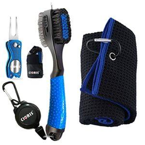 YK Kit d'outils de nettoyage pour rainures de golf – Serviette de golf en microfibre gaufrée | Brosse rétractable pour nettoyage de rainures de club | Outil de divot pliable avec marqueur magnétique