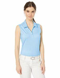 adidas Golf Women's Ultimate Heathered Sleeveless Polo, Glow Blue Melange, Large