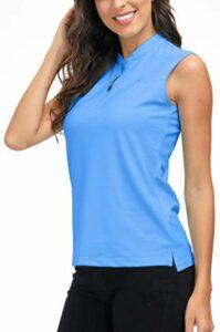 AjezMax Polo de tennis pour femme – Sans manches – Respirant – Avec fermeture éclair 1/4 – Bleu – XX-Large