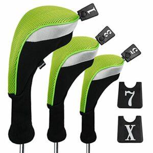 Andux Lot de 3 housses de tête de golf 460 cc avec numéros interchangeables