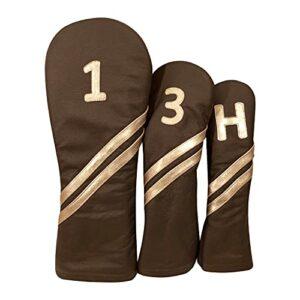 AZ OUT-01 Set de housses de golf en cuir naturel (1, 3 et H)