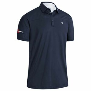 Callaway Golf Hommes Odyssey Ventilated Block Stretch Golf Polo Shirt Peacoat Small