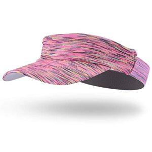 Chapeau pare-soleil unisexe absorbant la transpiration Bandeau élastique avec bord Protection UV UPF 50 + Bandeau de sport pliable Séchage rapide Tête 50 – 56 cm Rose