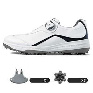 Chaussures de Golf Imperméables pour Hommes,Chaussures De Sport Légères Et Respirantes,Chaussures de Golf Respirables Anti-dérapage avec Système de Dentelle BOA Running Shoe,Bleu,8.5US