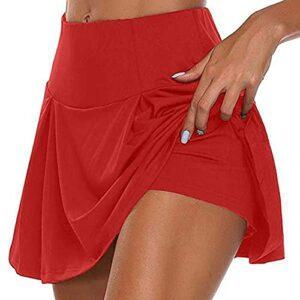 DIRTOM Jupe Sort Taille Haute, Femme Sport Skirt de 2 en 1 Patineuse Golf Tennis Yoga, Sfit Skort Courte Elastique Moulant Séchage Rapide, S-5XL