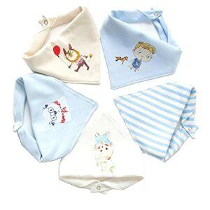 DONGMIAN Lot de 5 bavoirs en coton doux pour bébé nouveau-né – Serviette de salive – Foulard triangulaire – Bandana – Tissu pour le rot – Serviette en coton – Foulard