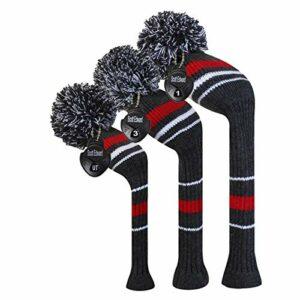EDWARD & CO. Lot de 3 housses de tête de golf en tricot pour bois et conducteur, pour driver (460 CC) et hybride/UT. avec étiquettes numérotées rotatives (Gris)