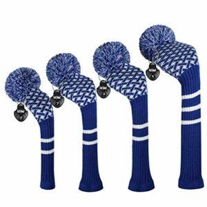 EDWARD & CO. Lot de 4 housses de tête de golf en tricot pour conducteur (460CC) Fairways hybrides/UT. Doux et chaud, Keep Club Clean. (Bleu réticulé)