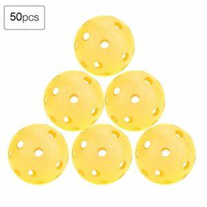 EVTSCAN Balles de Pratique de Golf, 50pcs balles de Pratique de Golf à Flux d'air Creux de Couleur Unie Balles de Golf d'intérieur pour Enfants(Jaune)