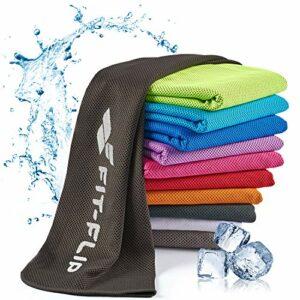 Fit-Flip Serviette de Refroidissement 100x30cm, Serviette Sport Microfibre refroidissante, Serviette rafraîchissante, Cool Towel, Serviette Microfibre – Couleur: Noir, Dimensions: 100x30cm