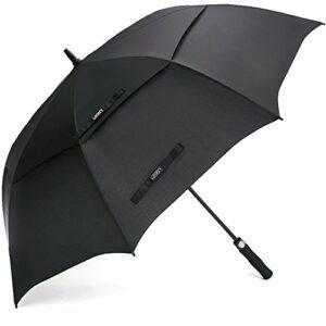 G4free 62/172,7cm Ouverture automatique Parapluie de golf Extra Large très double auvent ventilé coupe-vent imperméable bâton parapluies, noir, 62inch