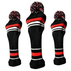 Golf Club Headcover Kit Durable tricotée Classique Tête de Fer Protecteur Set Rouge 3PCS