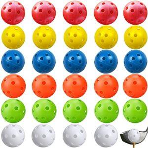 Golf Creux,30 Pièces Balles de Golf en Plastique,Balles de Jeu Perforées Balles,Coloré Plastique 26 Trous Balles de Golf Creuses Air Flow,pour Swing Practice, Driving Range (6 Couleurs)