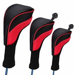 Honeyhouse Lot de 3 couvre-têtes en bois pour golf, long col pour driver de Fairway Woods 1, 3, 5 hybrides, 1680D Knit Golf Club pour tous les clubs de parcours et driver (rouge)