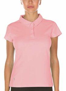 icyzone Polo Shirts de Sport pour Femme, pour Fitness Jogging Golf Tennis (S, Rose)