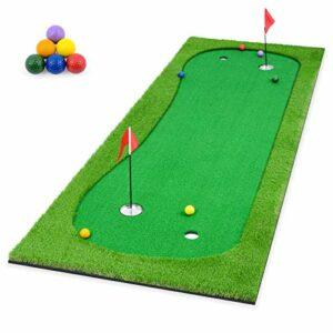 ikkle Tapis de Putting de Golf, Tapis d'entraînement de Golf à Domicile 1 * 3m, Tapis de Practice Golf pour Cour Intérieure Extérieure + 6 balles de Golf