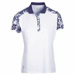 Island Green Polo de Golf à Manches Courtes pour Femme – Imprimé Floral M Blanc/Bleu Marine