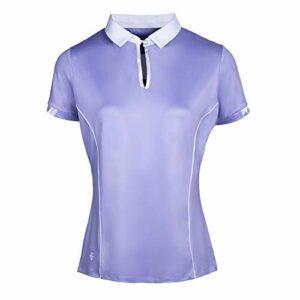 Island Green Polo de Golf Respirant à Manches Courtes avec Protection UV et imprimé Floral pour Femme L Lavande/Blanc
