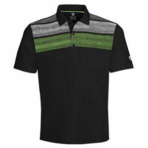 Island Green Polo de Golf Respirant imprimé Matrix pour Homme XXL Noir/Citron Vert/Blanc.