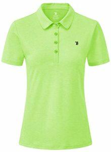 JINSHI Femme Polo Shirt de Sport à Manches Courtes Golf Tennis Tops Vert Lumineux XXL