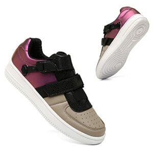 JQKA Chaussures de Cyclisme pour Hommes Chaussures de Golf Chaussures de Baseball Chaussures décontractées Respirantes Chaussures de Sport antidérapantes(Size:45,Color:Marron/Violet)