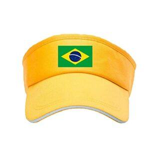 KLMM Sports Sun Sun Cap Brésil Men 'Cap Femmes Visière Réglable Tennis Tennis Golf Running Sunscreen Hat (Color : Jaune, Size : 60cm)