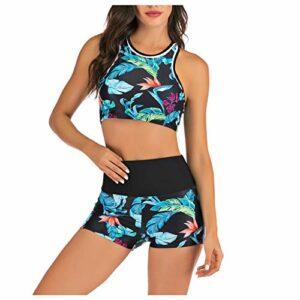 Lalaluka Maillot de bain 2 pièces pour femme – Push Up – Taille haute – Imprimé – Deux pièces – Maillot de bain – Maillot de bain – Bikini – Bleu – XL