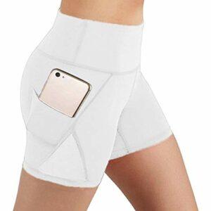 Leggings de fitness taille haute pour femme – Couleur unie – Pour le sport, le yoga, la course à pied, la gym, le contrôle du ventre – Avec poches S Blanc 4.