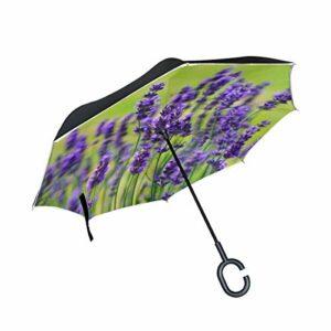 Lenenl Parapluie inversé à double couche pour voiture et extérieur Motif lavande
