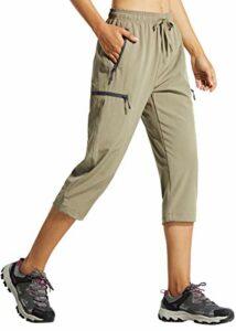Libin Pantalon cargo léger pour femme – Séchage rapide – Pour le golf – Décontracté – Poches zippées – – Taille L