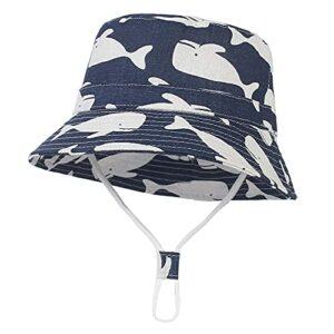 Mantimes Chapeau de soleil d'été pour bébé – Chapeau de plage à large bord en coton – Chapeau de protection imprimé dauphin – Unisexe (1#bleu)