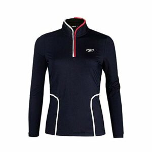 Mhwlai Chemise de Golf pour Femmes, Vêtements Automne Automne T-Shirt à Manches Longues à la Taille Collier Golf Vêtements de Haute qualité (Noir),Noir,S