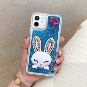 Miagon Coque Liquide Case pour Samsung Galaxy A71,Sables Mouvants Glitter Sparkle Floating 3D Diamant Étui Transparent Housse Cover avec Béquille,Lapin Bleu